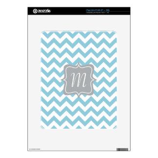 Blue and White Zigzag Monogram iPad Skin