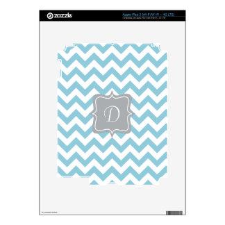 Blue and White Zigzag Monogram iPad 3 Decals
