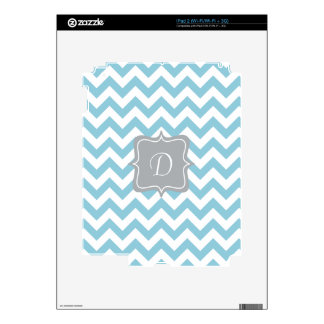 Blue and White Zigzag Monogram Skins For The iPad 2