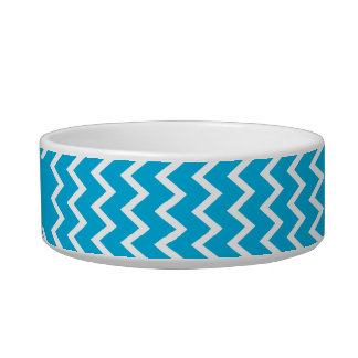 Blue and White Zigzag Pattern Cat Bowl
