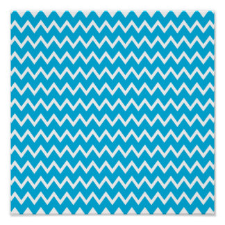 Blue and White Zigzag Pattern Poster