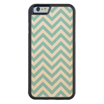 Beach Themed Blue and White Zigzag Stripes Chevron Pattern Carved Maple iPhone 6 Bumper Case