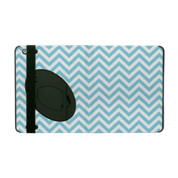Beach Themed Blue and White Zigzag Stripes Chevron Pattern iPad Covers