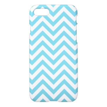 Beach Themed Blue and White Zigzag Stripes Chevron Pattern iPhone 7 Case