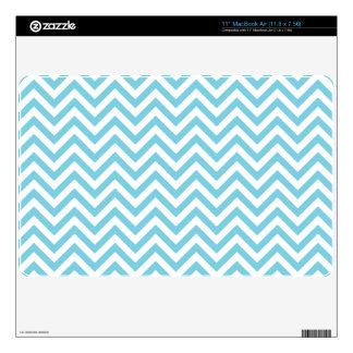Blue and White Zigzag Stripes Chevron Pattern MacBook Skin