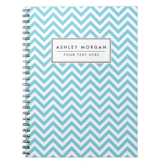 Blue and White Zigzag Stripes Chevron Pattern Notebook