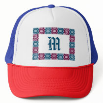 Blue And Wine Color Geometric Pattern Trucker Hat