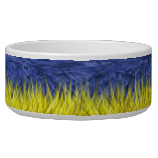 Blue and yellow abstract pattern bowl