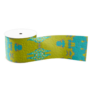 Blue and yellow abstract pattern grosgrain ribbon
