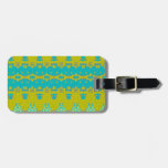 Blue and yellow abstract pattern luggage tag