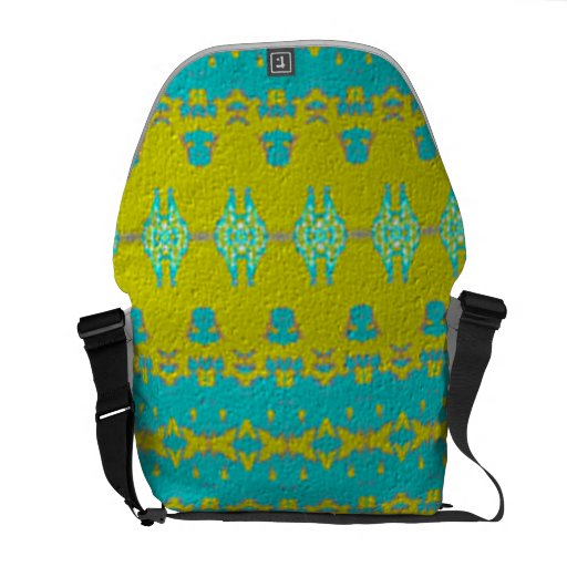 Blue and yellow abstract pattern messenger bag
