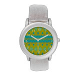 Blue and yellow abstract pattern wrist watch