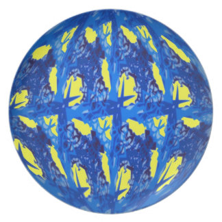 Blue and Yellow Abstract Plate