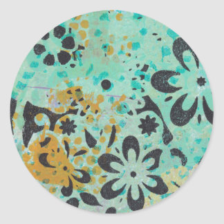 Blue and yellow abstract stickers