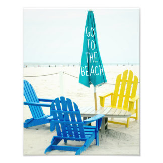 Blue and Yellow Adirondack Chairs on the Beach Photo Print