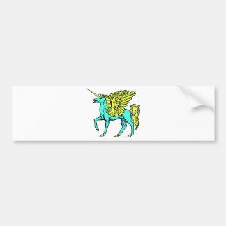 Blue and Yellow Alicorn/Pegacorn/Winged Unicorn Bumper Sticker
