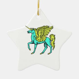 Blue and Yellow Alicorn/Pegacorn/Winged Unicorn Ceramic Ornament