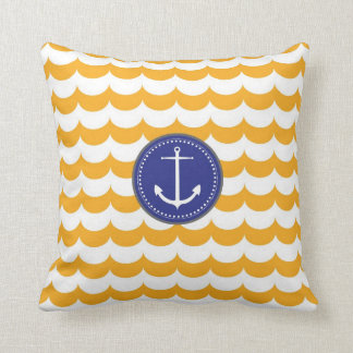 Blue and Yellow Anchor with Waves Pattern Pillow