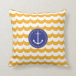 Blue and Yellow Anchor with Waves Pattern Pillows