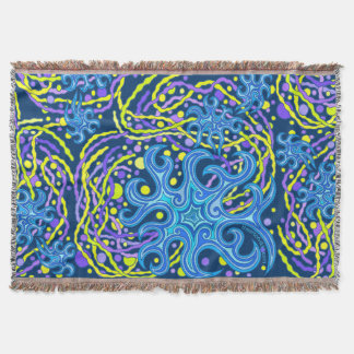 Blue And Yellow Astrum Vita Abstract Art Colorful Throw Blanket