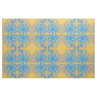 Blue And Yellow Astrum Vita Abstract Art Fabric