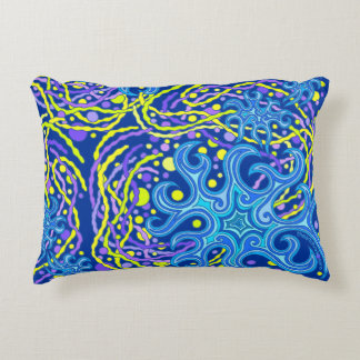 Blue And Yellow Astrum Vita Abstract Art Accent Pillow