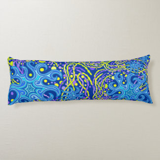 Blue And Yellow Astrum Vita Abstract Art Body Pillow