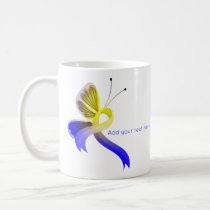Blue and Yellow Awareness Ribbon Butterfly Coffee Mug