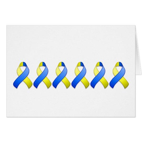 Blue and Yellow Awareness Ribbon Card