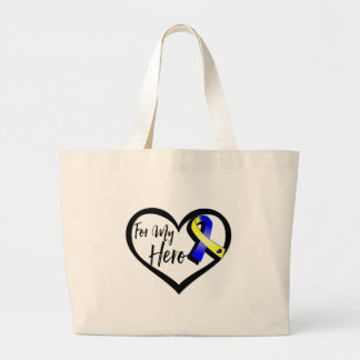 Blue and Yellow Awareness Ribbon For My Hero Large Tote Bag