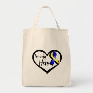 Blue and Yellow Awareness Ribbon For My Hero Tote Bag