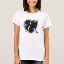 Blue and Yellow Awareness Ribbon Grunge T-Shirt