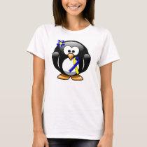 Blue and Yellow Awareness Ribbon Penguin T-Shirt