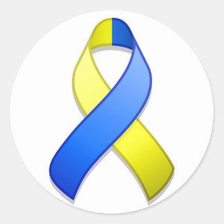 Blue and Yellow Awareness Ribbon Round Sticker