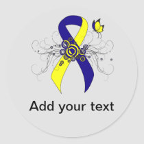 Blue and Yellow Awareness Ribbon with Butterfly Classic Round Sticker
