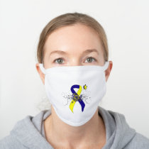 Blue and Yellow Awareness Ribbon with Butterfly White Cotton Face Mask