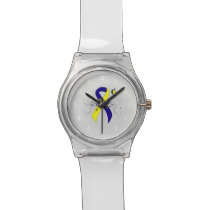 Blue and Yellow Awareness Ribbon with Butterfly Wrist Watch