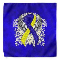Blue and Yellow Awareness Ribbon with Wings Bandana