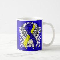 Blue and Yellow Awareness Ribbon with Wings Coffee Mug