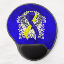 Blue and Yellow Awareness Ribbon with Wings Gel Mouse Pad