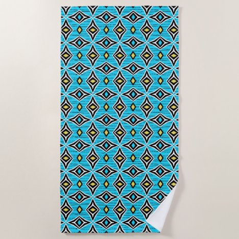 Blue and yellow aztec tribal diamond pattern beach towel