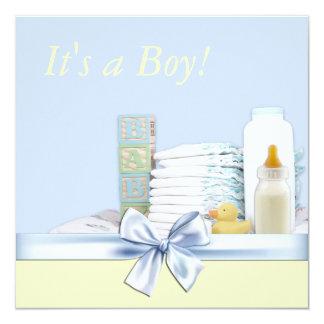 Blue and Yellow Baby Boy Shower Custom Invites