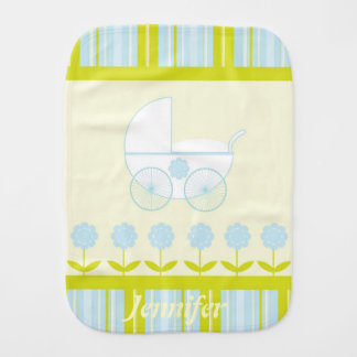 Blue and Yellow Baby Burp Cloth