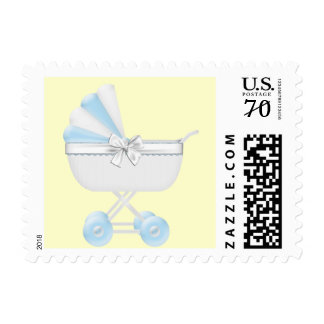 Blue and Yellow Baby Carriage Baby Shower Postage