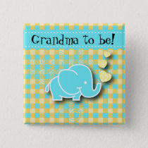 Blue and Yellow Baby Elephant | Grandma to be Button