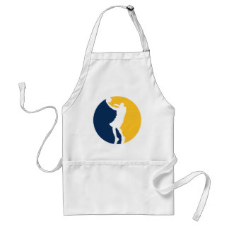 Blue and Yellow Basketball Action Round Adult Apron