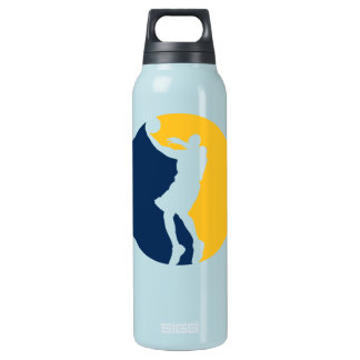 Blue and Yellow Basketball Action Round Insulated Water Bottle