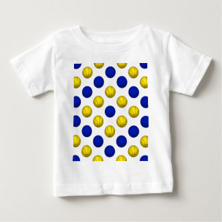Blue and Yellow Basketball Pattern Baby T-Shirt