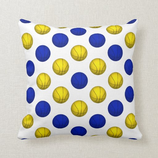 Blue and Yellow Basketball Pattern Throw Pillow Zazzle