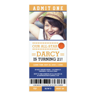 Blue and Yellow Basketball Ticket Birthday Invites